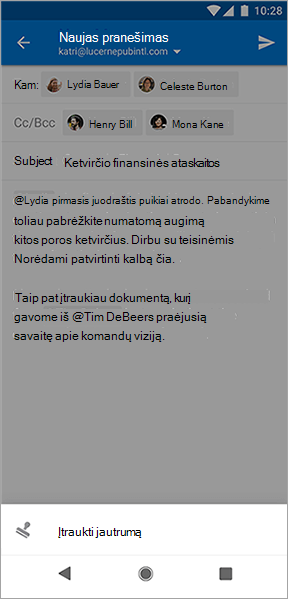 """Mygtuko pridėti jautrumą """"Outlook"""", skirtos """"Android"""", ekrano nuotrauka"""