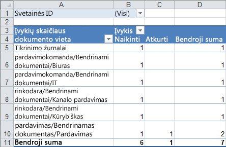 Suvestinės lentelės audito duomenų suvestinė