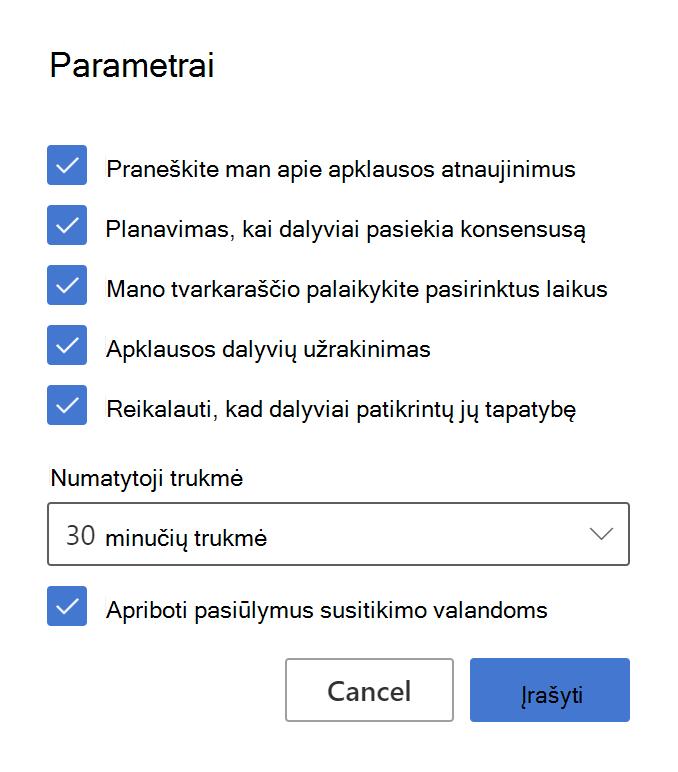 FindTime organizatoriaus parametrų pavyzdys