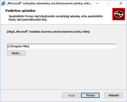 """Pasirinkti """"Microsoft"""" mokyklos duomenų sinchronizavimo įrankių rinkinio diegimo kelią"""
