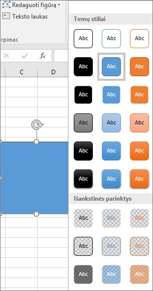 """Figūros stilių galerija, kurioje rodomi nauji iš anksto nustatyti stiliai, programoje """"Excel 2016 for Windows"""""""
