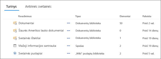 Turinio skyrių puslapyje svetainės turinys