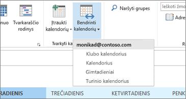 Kalendorių, kuriuos galima bendrinti, išplečiamasis sąrašas