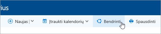 Naršymo juostos mygtuko Bendrinti kalendorių ekrano nuotrauka.