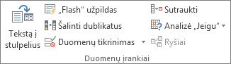 Grupė Duomenų įrankiai skirtuke Duomenys