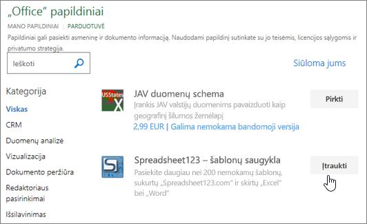 """Ekrano kopijoje parodyta papildiniai puslapį, kuriame galite pasirinkti, ar ieškoti papildinio """"Excel""""."""