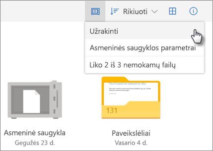 """""""Personal Vault"""" užrakinimo """"OneDrive"""" ekrano nuotrauka"""