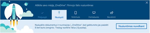 """""""OneDrive"""" vedlys apžvalgos, kuris rodomas pirmą kartą panaudojus """"OneDrive"""" verslui, """"Office 365"""" ekrano nuotrauka"""