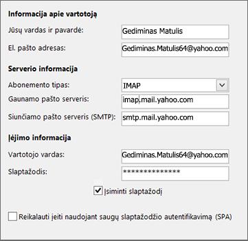 """Įveskite savo """"Yahoo"""" serverio informaciją"""
