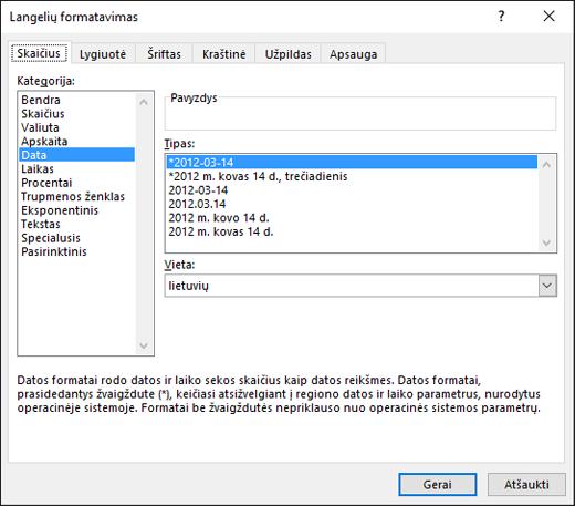 Langelio formatavimas kaip datos