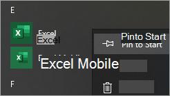 Ekrano nuotrauka, kurioje rodoma, kaip prisegti programėlę prie pradžios meniu