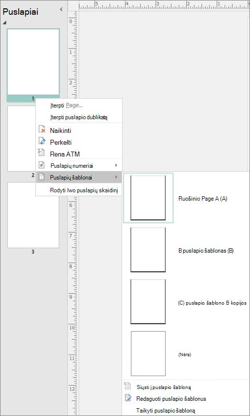 Ekrano nuotraukos rodo pasirinktą puslapių šablonų puslapio galimybes kontekstiniame meniu parinktis.