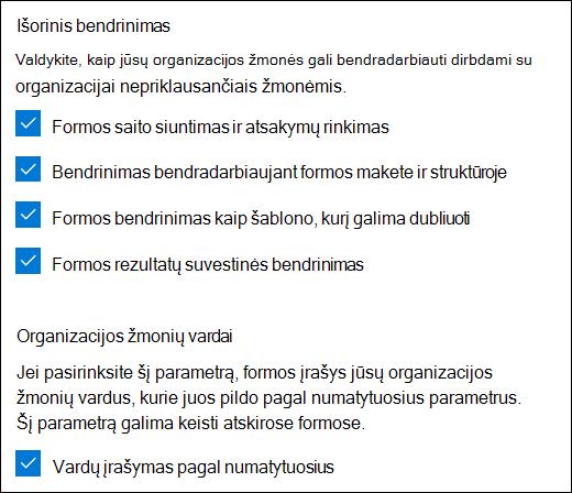 """""""Microsoft Forms"""" bendradarbiavimo parametras"""