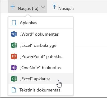 """Meniu naujas, """"Excel"""" apklausos komanda"""