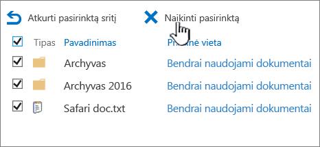 SharePoint 2016 2 lygio šiukšlinę visi pažymėti elementai ir pažymėta naikinti