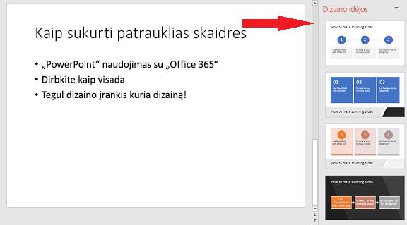 """Elementarios skaidrės, kurią """"PowerPoint"""" dizaino įrankis gali paversti grafiniu elementu, pavyzdys."""