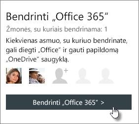 """Ekrano nuotrauka, rodanti prenumeratą puslapio mano abonementas """"Bendrinti"""" Office 365"""""""" sekcijos bendrinama su 1 asmeniui."""