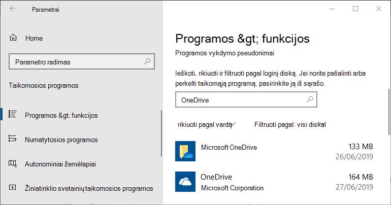 """""""OneDrive"""" """"Windows"""" programėlių parametruose"""
