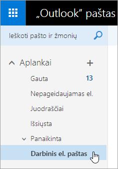 """Ekrano nuotrauka žymeklį užvedę pelę virš aplanko """"Outlook.com"""" naršymo srityje."""