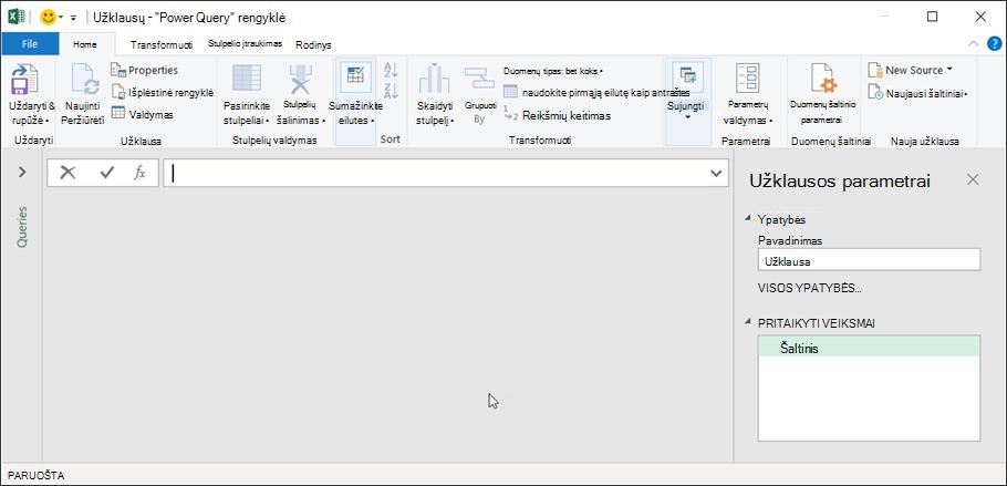 """Užklausų rengyklė programoje """"Excel"""" 365"""