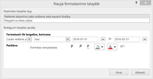 Naujos formatavimo taisyklės sąsajos ekrano kopija