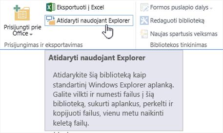 """SharePoint 2016 atidaryti naudojant """"Explorer"""" IE11"""