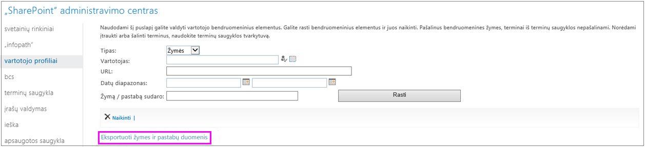 Ekrano kopija, kurioje paryškintas eksportavimo saitas