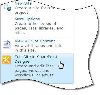 """""""SharePoint Designer 2010"""" meniu Svetainės veiksmai"""