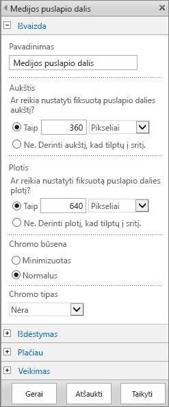 """""""SharePoint Online"""" dialogo lango Medijos puslapio dalies, skirtos nurodyti parametrams, susijusiems su medijos failų Išvaizda, Maketu, Išsamiau ir Veikimo, ekrano kopija. Rodomos Išvaizdos parinktys, įskaitant pavadinimą, aukštį, plotį, """"Chrome"""" būsena ir tipą."""