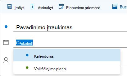 Kalendoriaus pavadinimo įvykio išsamios informacijos formoje ekrano kopija