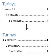 Rodomi rodiniai prieš ir po turinio teksto stilių formatavimo