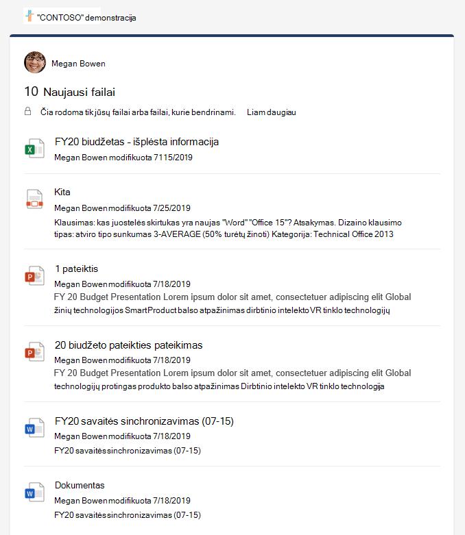 Naujausių failų išsamios informacijos sritis, kurioje rodomi keli failai.