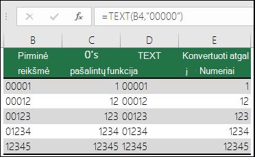 """Pavyzdžiai, kaip naudojant TEXT formatuoti priekyje esančius nulius.  =TEXT(A2,""""00000"""")"""
