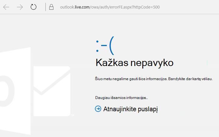 """""""Outlook.com"""" Klaidos kodas """"500 – įvyko nežinoma klaida"""""""