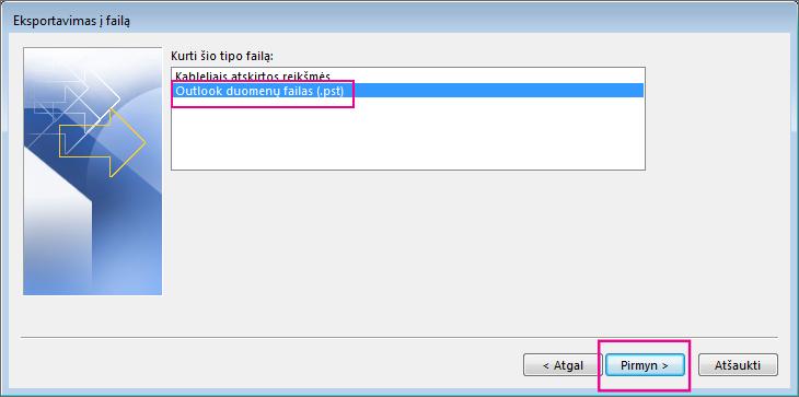 """Pasirinkite """"Outlook"""" duomenų failas (.pst), tada spustelėkite Pirmyn."""