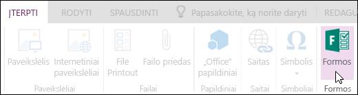 """Parinktis Įterpti formas programoje """"OneNote Online"""""""