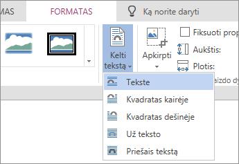 Paveikslėlio formatavimas – kelti teksto išplečiamąjį lauką