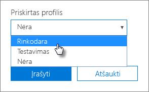 Norėdami pritaikyti profilį, įrenginio skyde pasirinkite Priskirtas profilis.