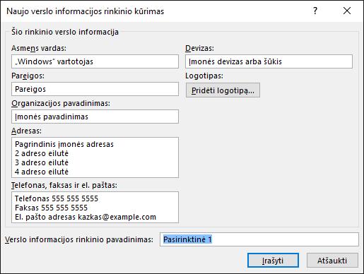 Ekrano nuotrauka, vaizduojanti dialogo langą Naujo verslo informacijos rinkinio kūrimas.