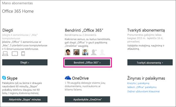 """Puslapio Mano abonementas su pasirinktu mygtuku """"Bendrinti """"Office 365"""" ekrano nuotrauka."""