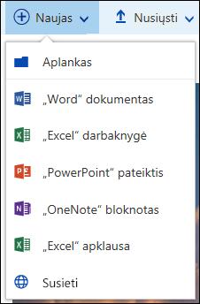 """Sukurkite naują failą """"Office 365"""" dokumentų bibliotekoje"""