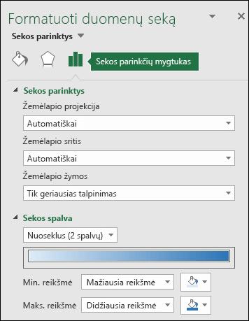 """""""Excel"""" žemėlapio diagramos objekto formatavimo užduočių srities sekos parinktys"""