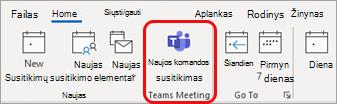"""Naujos komandos susitikimas programoje """"Outlook"""""""