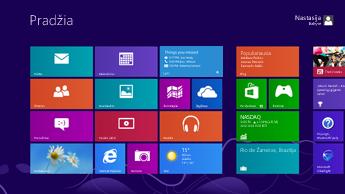 """""""Windows"""" pradžios ekrano su ant paryškintos """"Lync"""" plytelės rodomais būsenos naujinimais ekrano kopija"""