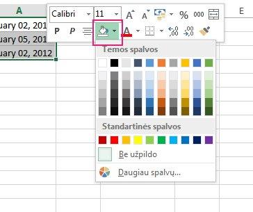Įtraukti langelių užpildo spalvą spustelint dešiniuoju pelės mygtuku