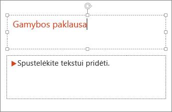 """Rodo teksto įtraukimą į teksto lauką programoje """"PowerPoint"""""""