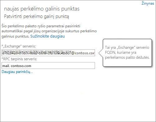 """Patvirtintas ryšys su """"Outlook Anywhere"""" galutiniu punktu."""