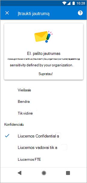 """""""Outlook"""", skirtos """"Android"""", jautrumo žymių ekrano nuotrauka"""