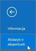 """Programos """"Outlook 2016"""" atidarymo ir eksportavimo komandos ekrano nuotrauka"""