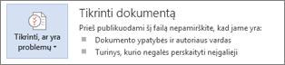 """Programos """"Word 2013"""" funkcija Tikrinti dokumentą"""